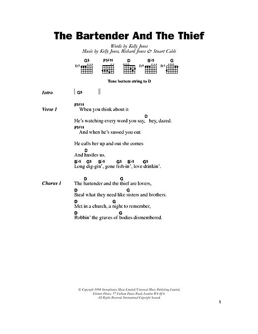 The Bartender And The Thief Sheet Music