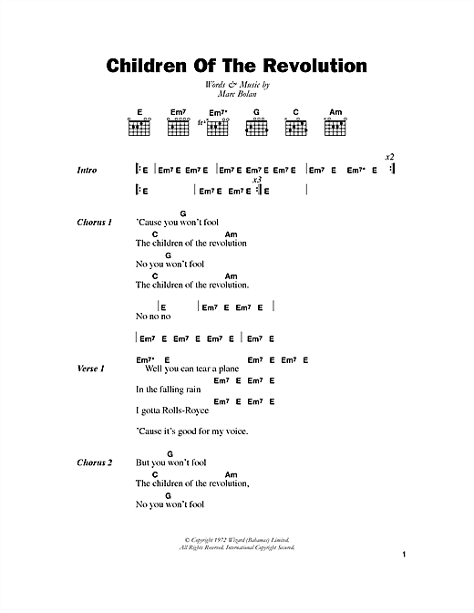 Children Of The Revolution Sheet Music