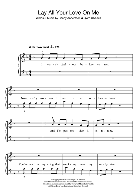 Lay All Your Love On Me Sheet Music