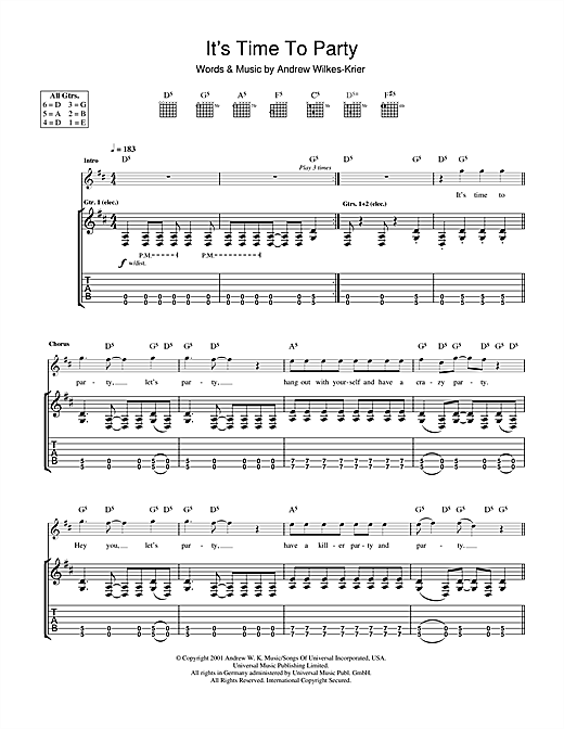 It's Time To Party Sheet Music