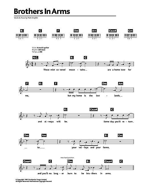 Brothers In Arms sheet music by Dire Straits (Keyboard – 48444)