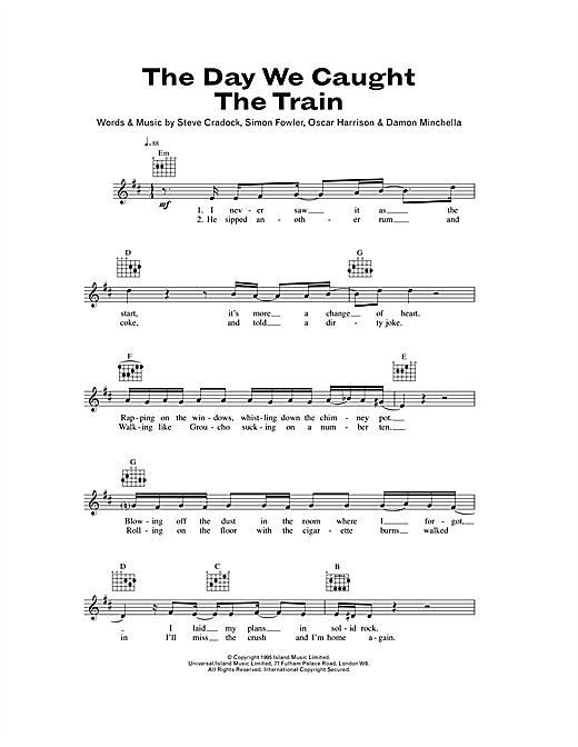 The Day We Caught The Train Sheet Music