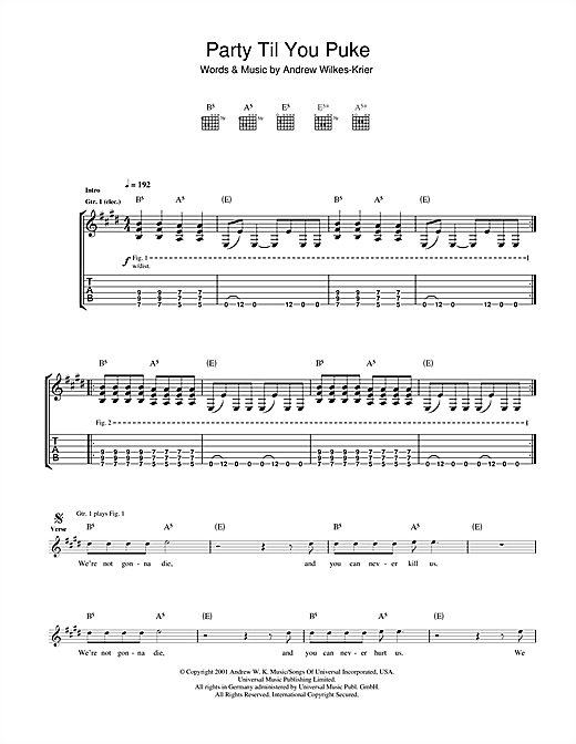 Tablature guitare Party Til You Puke de Andrew WK - Tablature Guitare