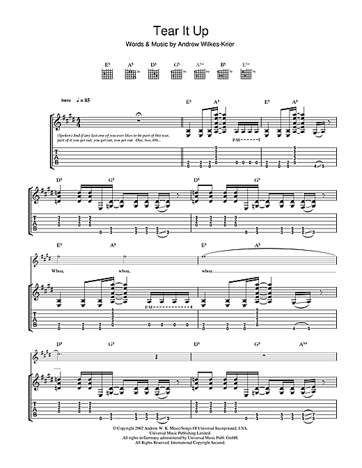 Tear It Up Sheet Music