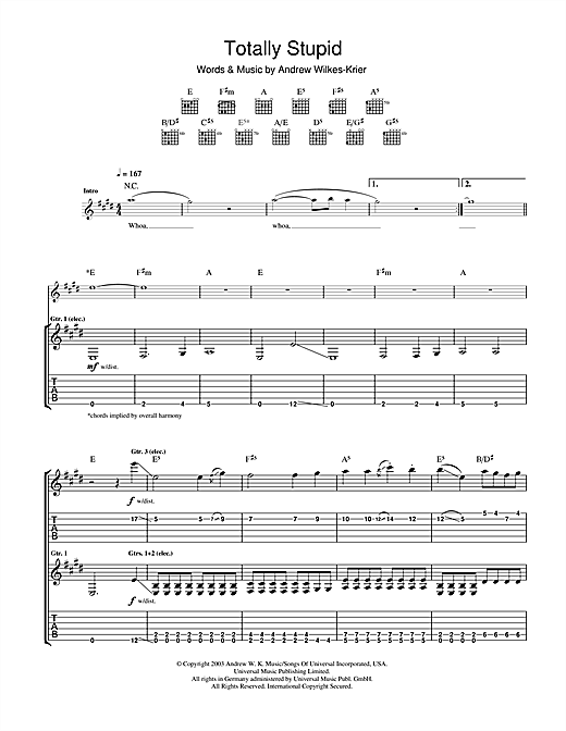 Totally Stupid Sheet Music