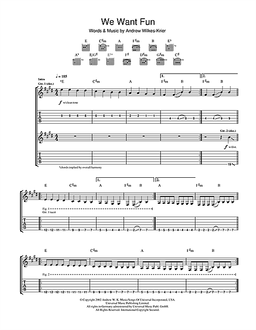 Tablature guitare We Want Fun de Andrew WK - Tablature Guitare