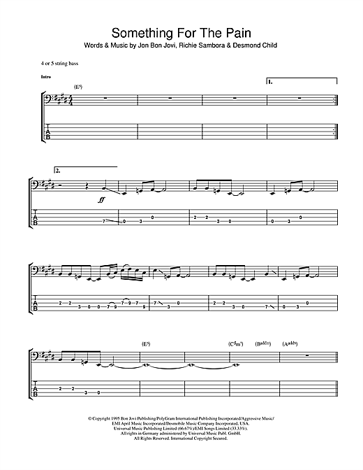 Something For The Pain Sheet Music