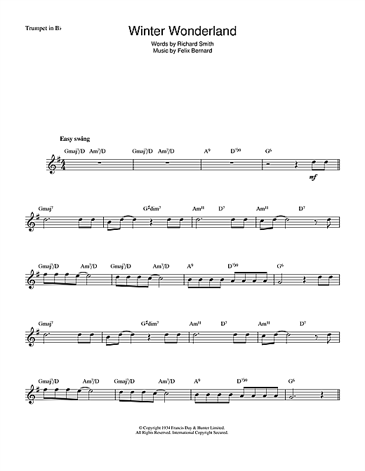 Winter Wonderland sheet music by Felix Bernard (Trumpet u2013 48471)