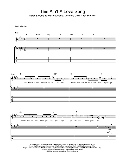 This Ain't A Love Song Sheet Music