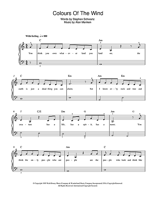 Colors Of The Wind (from Pocahontas) sheet music by Alan Menken ...