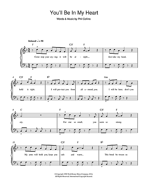 You'll Be In My Heart (from Walt Disney's Tarzan) Sheet Music