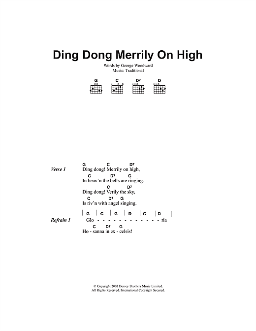 Ding Dong! Merrily On High sheet music by Christmas Carol ...