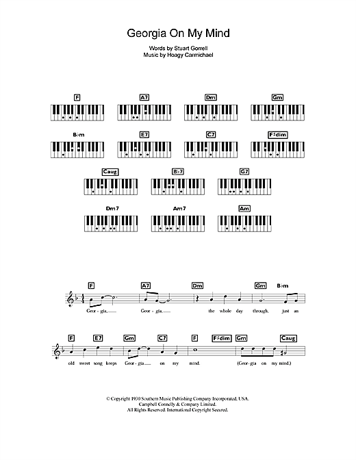 Partition piano Georgia On My Mind de Ray Charles - Synthétiseur