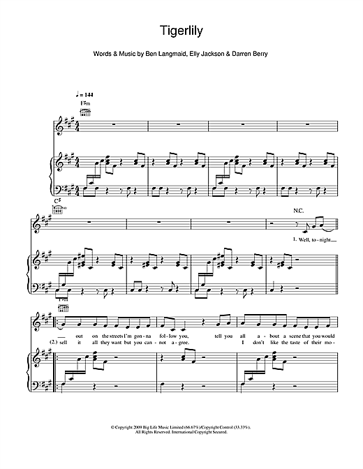 Tigerlily Sheet Music