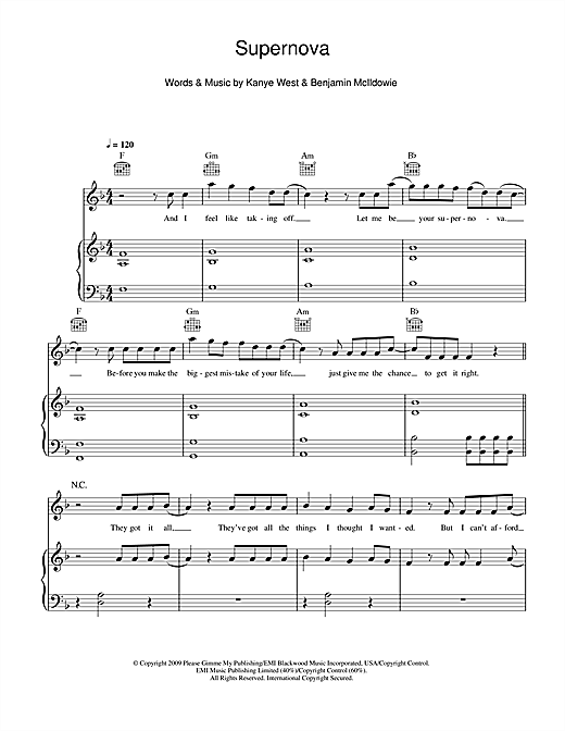 Supernova (feat. Kanye West) Sheet Music