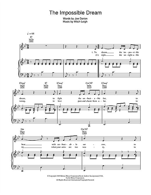 The Impossible Dream Sheet Music