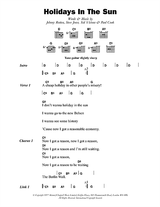 Holidays In The Sun (Guitar Chords/Lyrics)