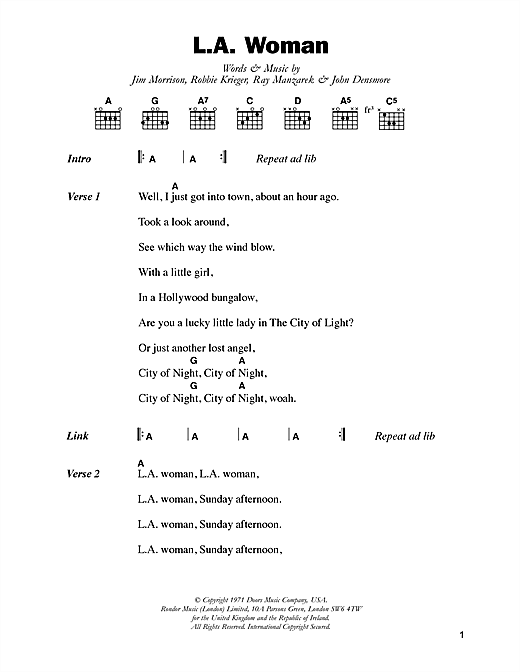 L.A. Woman sheet music by The Doors (Lyrics & Chords – 48603)