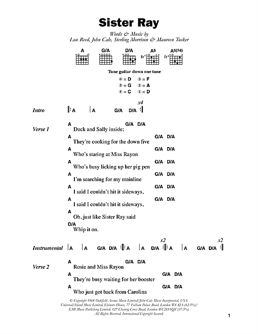 Sister Ray Sheet Music