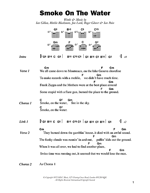 Smoke On The Water sheet music by Deep Purple (Lyrics u0026 Chords u2013 48611)