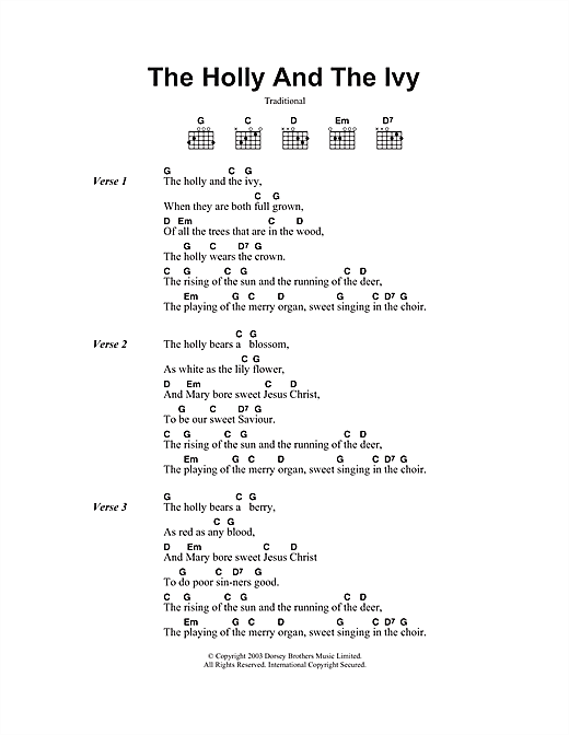 The Holly And The Ivy (Guitar Chords/Lyrics)