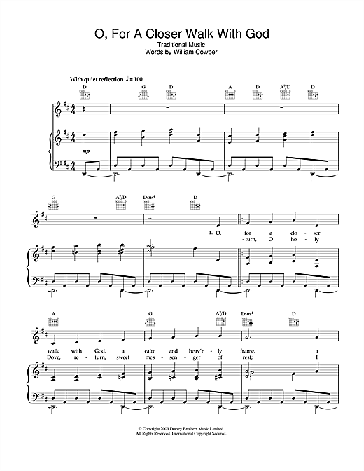 Partition piano O, For A Closer Walk With God de Traditional - Piano Voix Guitare (Mélodie Main Droite)
