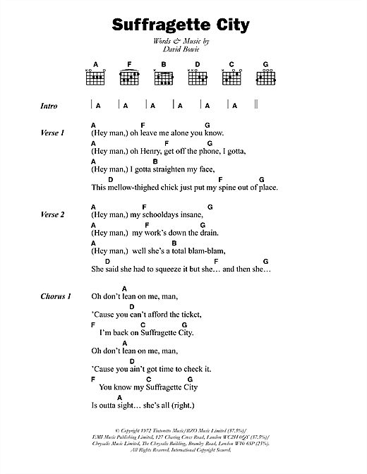 Suffragette City (Guitar Chords/Lyrics)