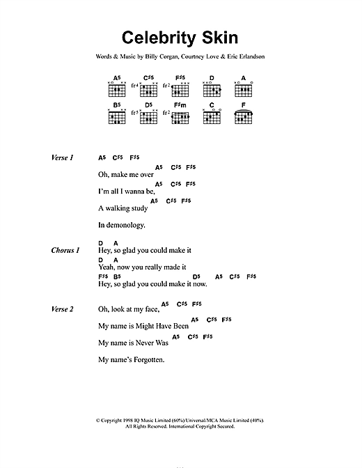 Celebrity Skin (Guitar Chords/Lyrics)