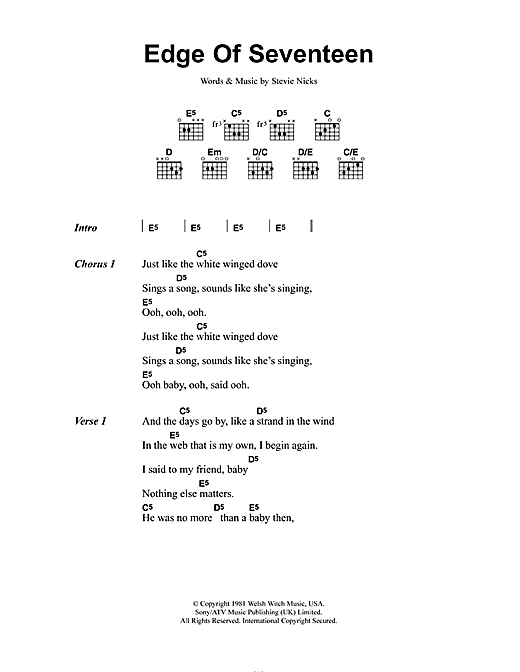 Edge Of Seventeen (Guitar Chords/Lyrics)