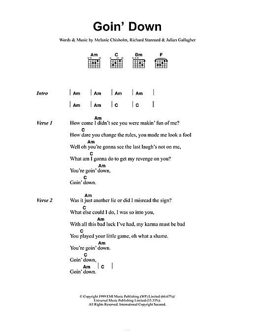 Goin' Down (Guitar Chords/Lyrics)