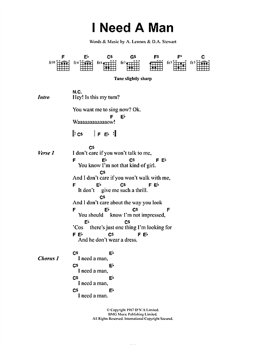 I Need A Man (Guitar Chords/Lyrics)