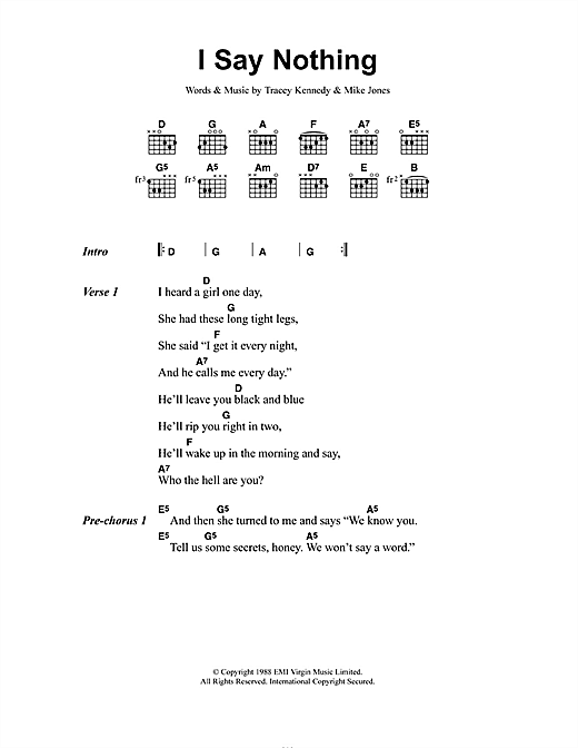 I Say Nothing (Guitar Chords/Lyrics)