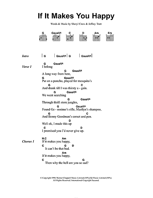 If It Makes You Happy (Guitar Chords/Lyrics)
