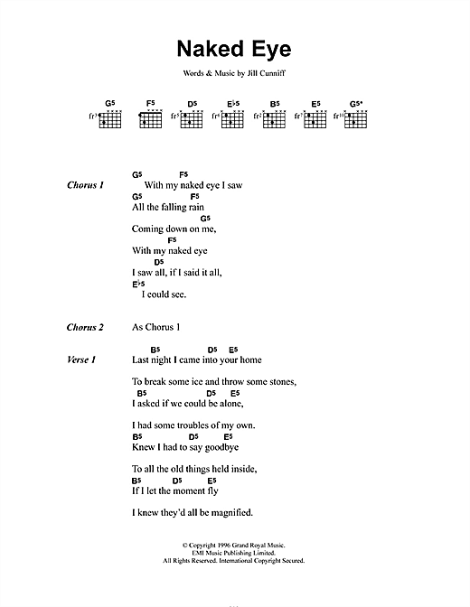 Naked Eye (Guitar Chords/Lyrics)