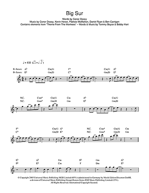 Big Sur Sheet Music