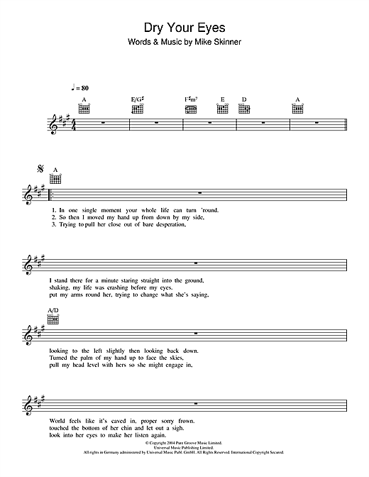 Dry Your Eyes Sheet Music