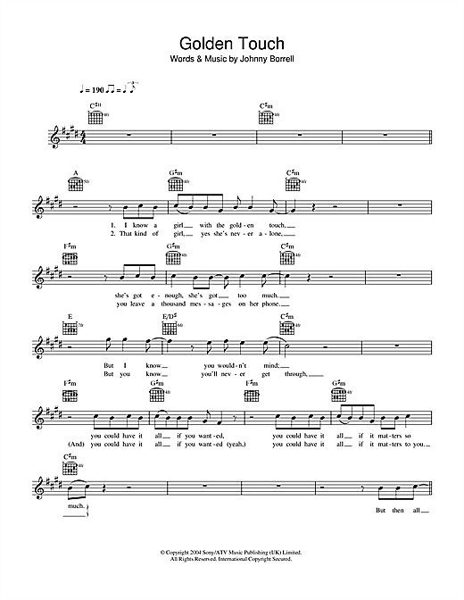 Golden Touch (Lead Sheet / Fake Book)