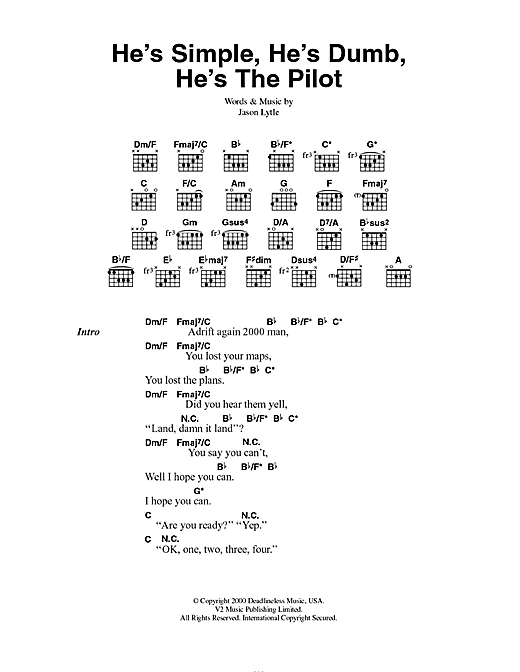 He's Simple, He's Dumb, He's The Pilot Sheet Music