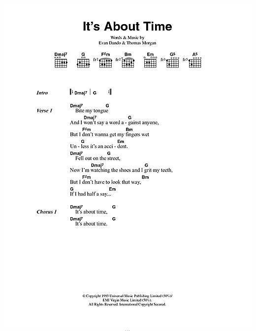 It's About Time (Guitar Chords/Lyrics)