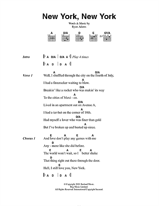 New York, New York Sheet Music