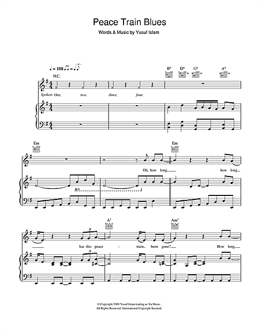 Peace Train Blues Sheet Music
