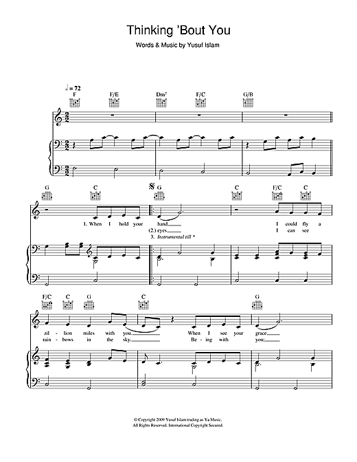 Thinking 'Bout You Sheet Music