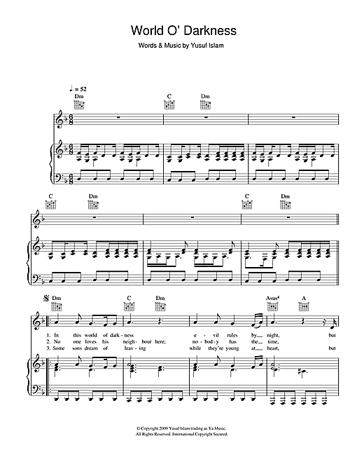 World O' Darkness (Piano, Vocal & Guitar (Right-Hand Melody))