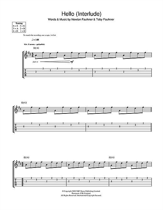 Tablature guitare Hello (Interlude) de Newton Faulkner - Tablature Guitare