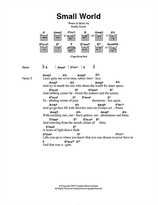 Small World (Guitar Chords/Lyrics)