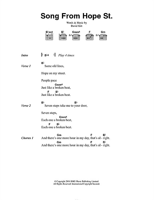 Song From Hope St. Sheet Music