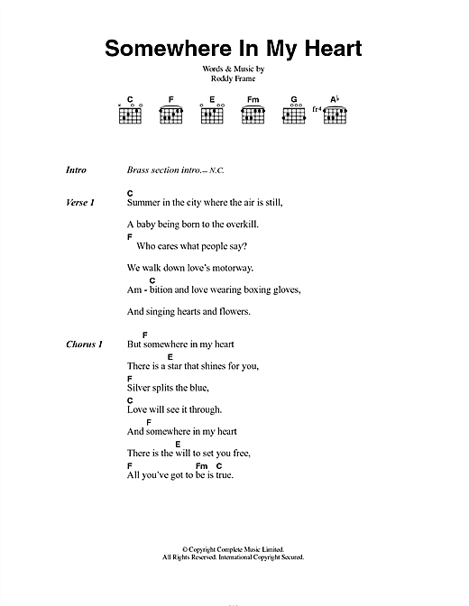 Somewhere In My Heart Sheet Music By Aztec Camera Lyrics Chords