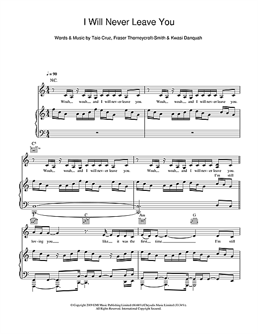 Never Leave You (feat. Amelle) Sheet Music