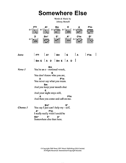 Somewhere Else (Guitar Chords/Lyrics)