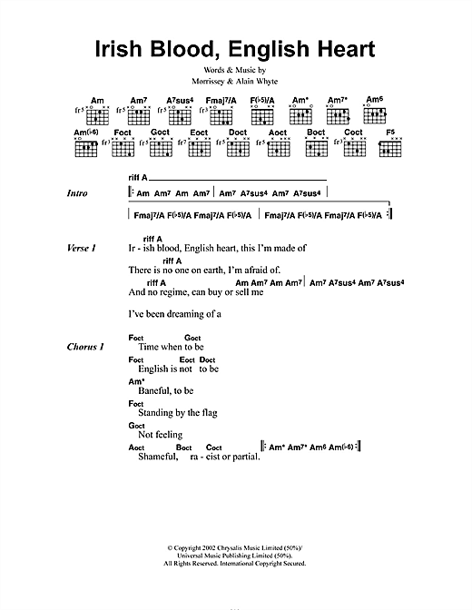 Irish Blood, English Heart (Guitar Chords/Lyrics)